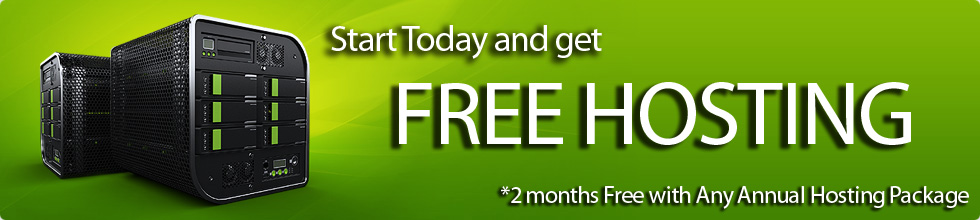 Current Special: Receive two months free hosting and a free domain name with any annual hosting package.